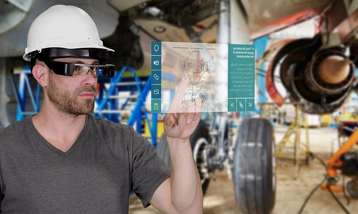 Person using smart glassed to access Industrial Manuals