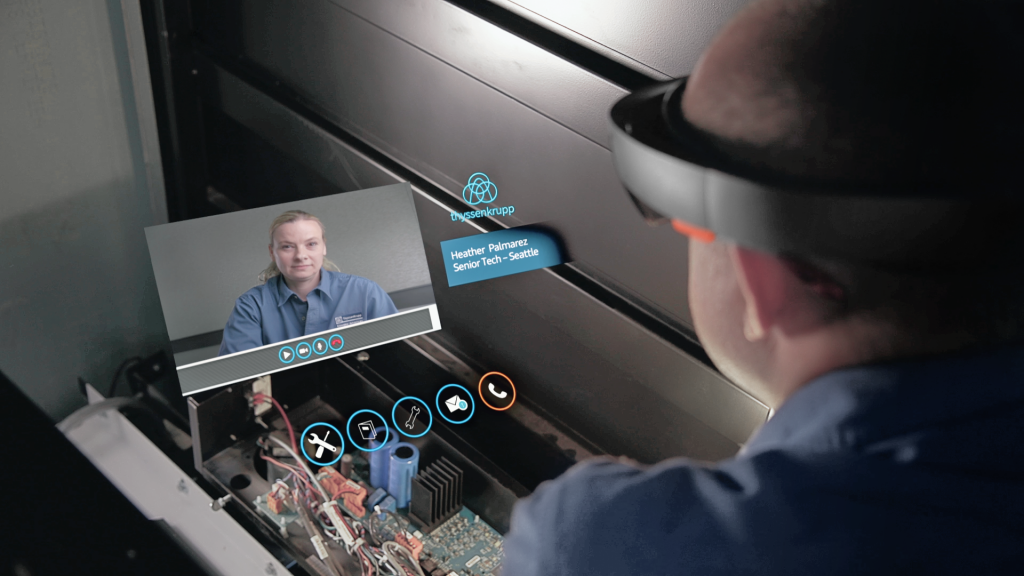 Person using augmented reality to bridge the manufacturing skills gap