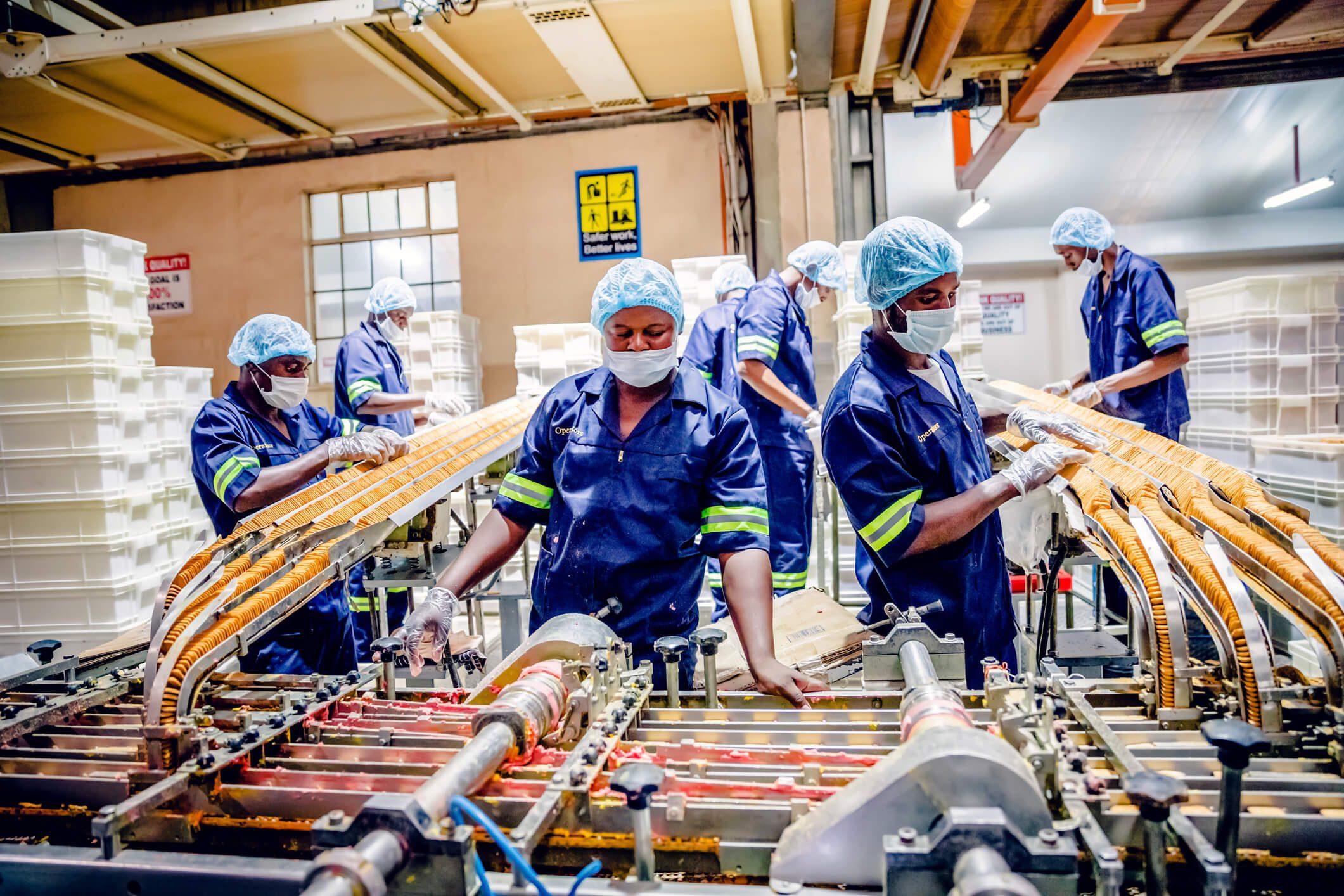 Mass hiring seasonal workers at a food production plant