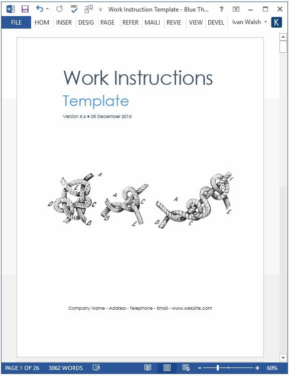 Word based work instructions